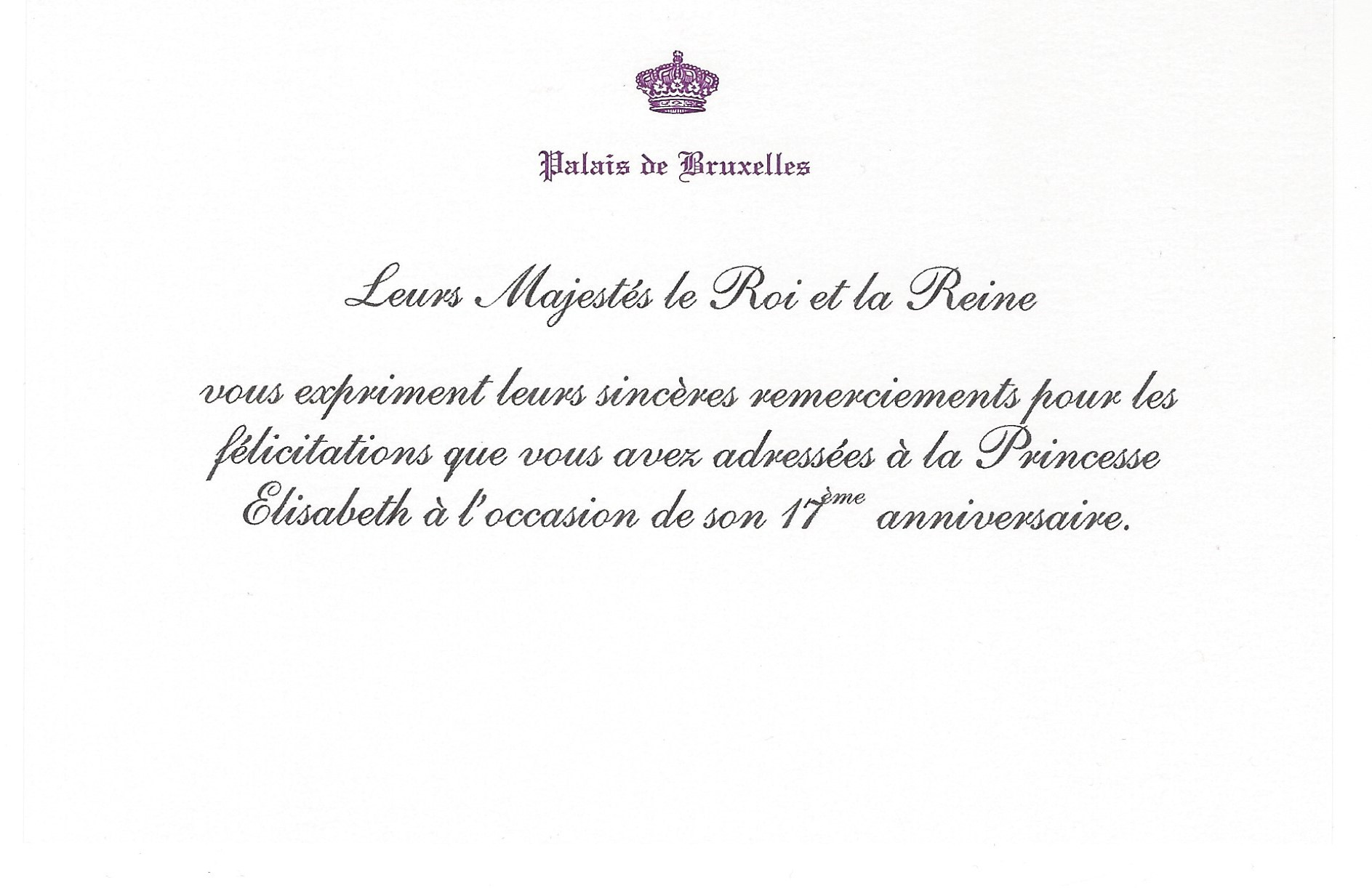 Princess Elisabeth Card Brabant