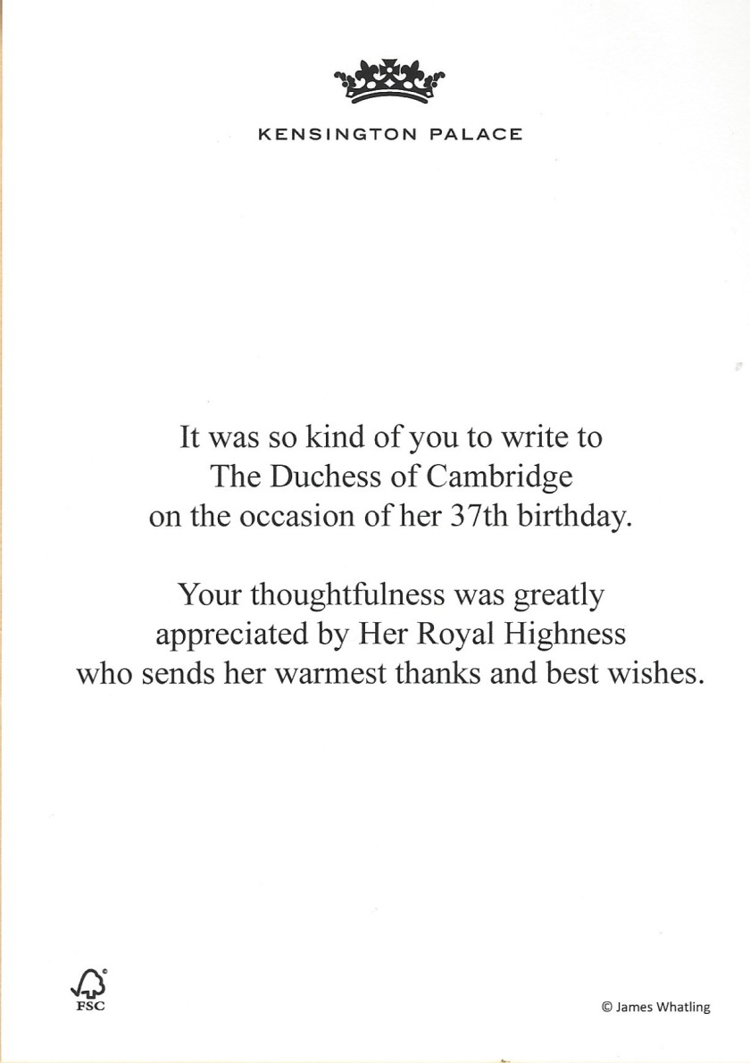 Duchess of Cambridge 37th Birthday message