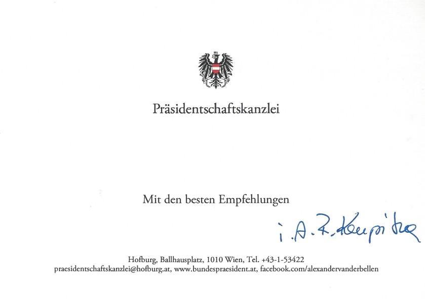 Austrian president Card