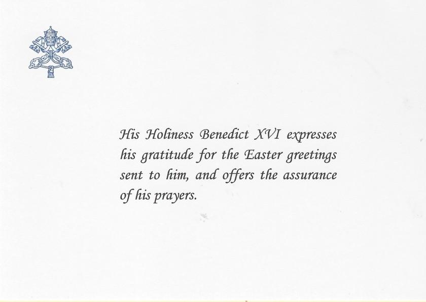 Benedict XVI Easter Crad