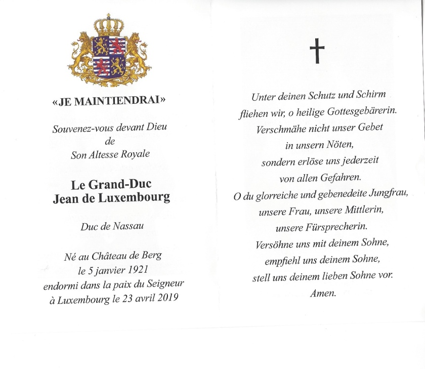 Grand Duke Jean Memorial Card Interior