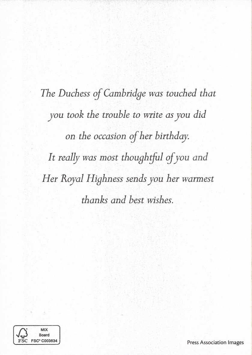 Duchess of Cambridge 2014 Message