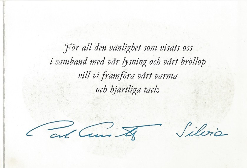 Carl Gustaf and Silvia Card Wedding Message