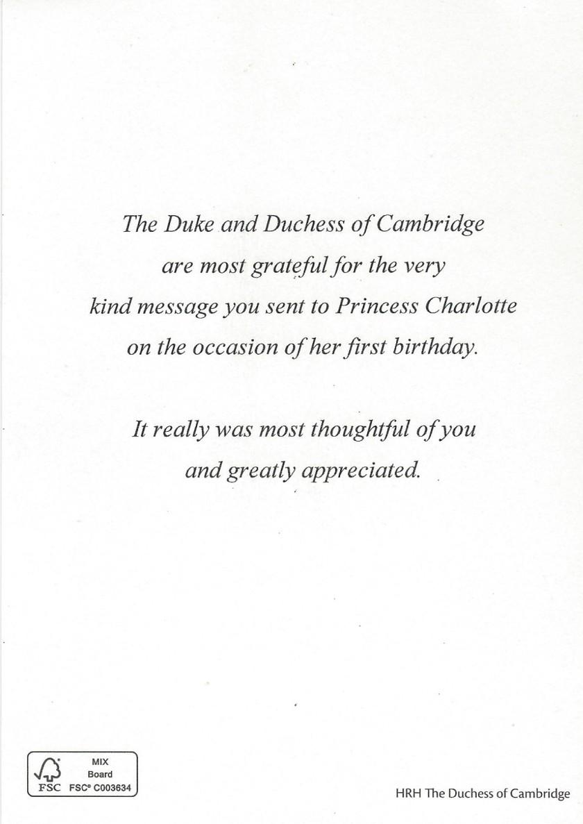 Charlotte 1st Birthday Message