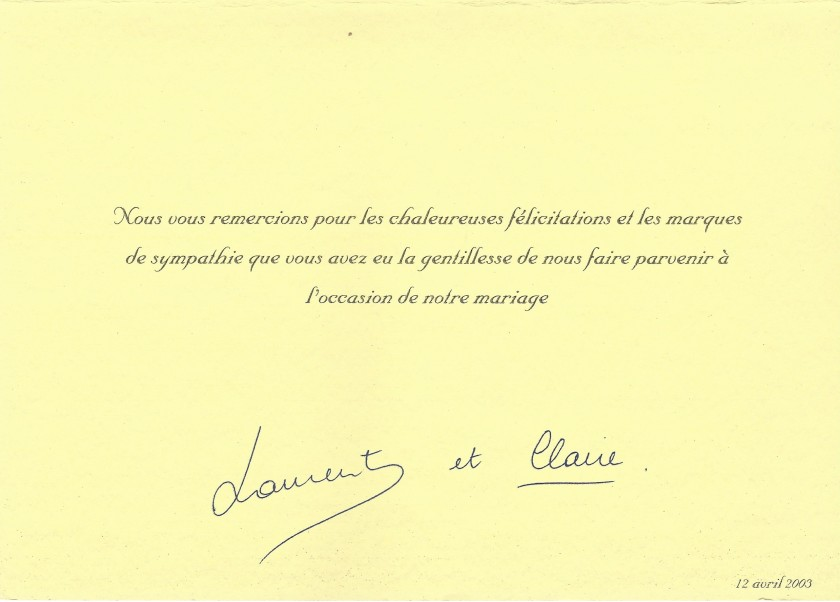 Prince Laurent and Princess Clare Wedding Message