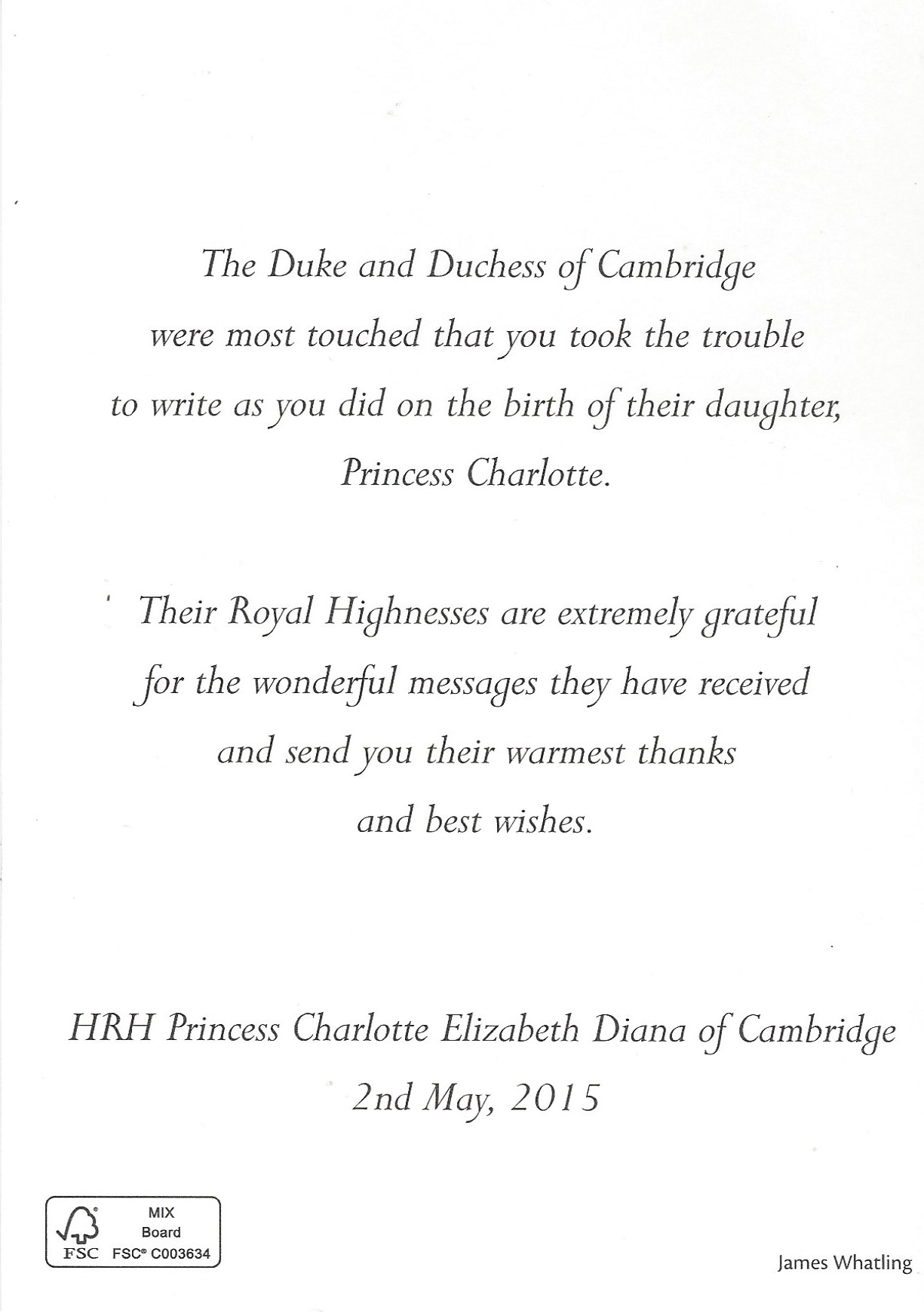 Princess Charlotte Birth Message