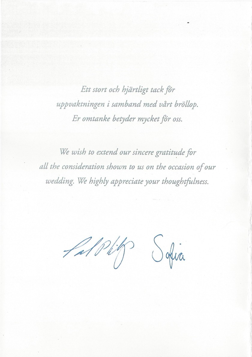 Sophia and Carl Philip Wedding Card Message