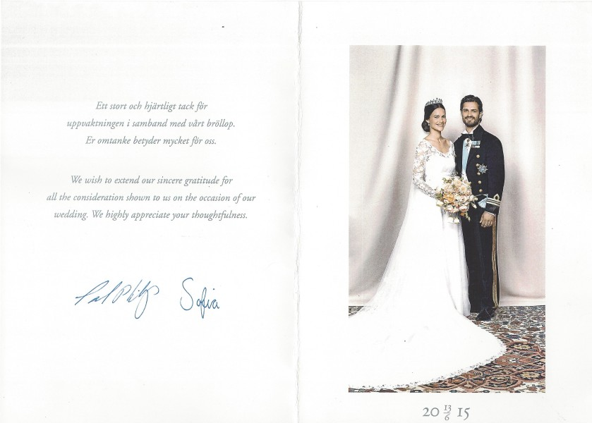 Sophia and Carl Philip Wedding Card