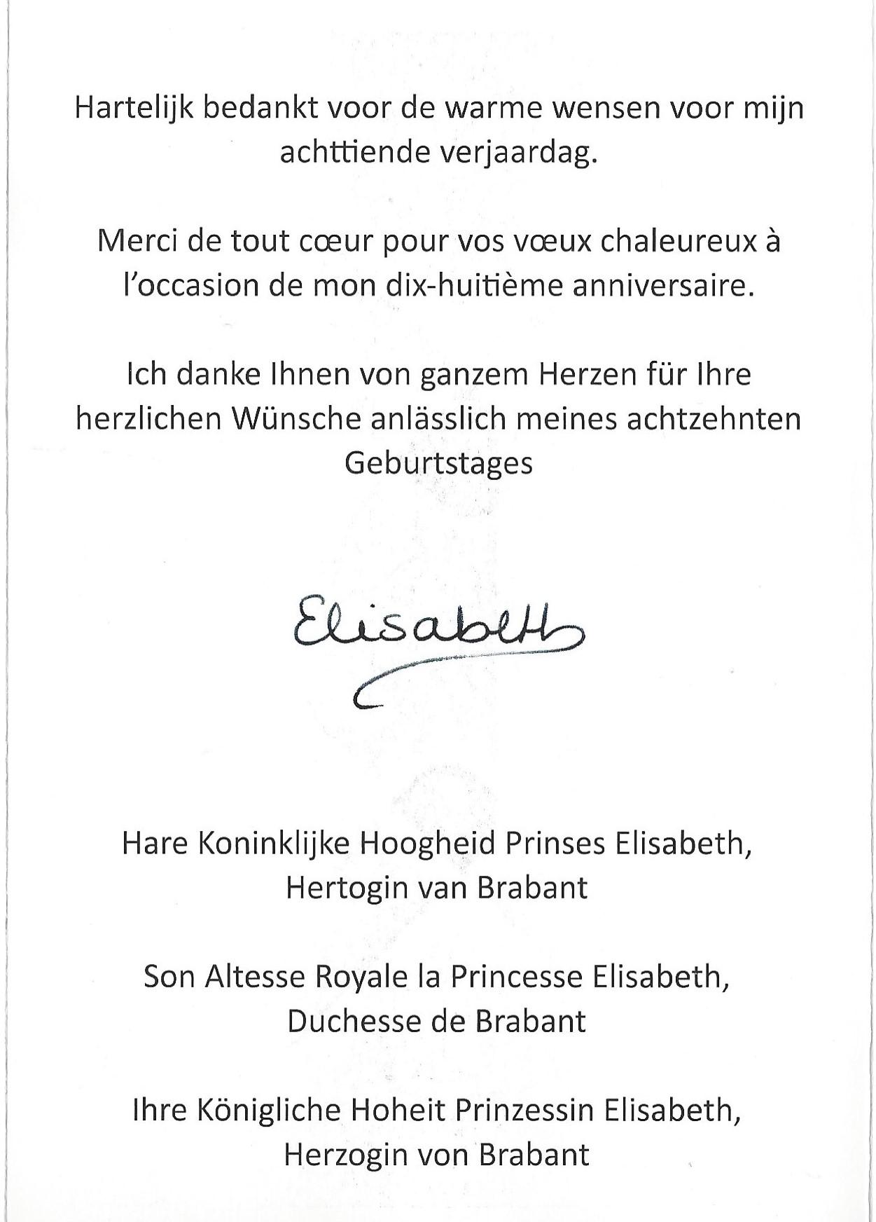 Duchess of Brabant Card Message