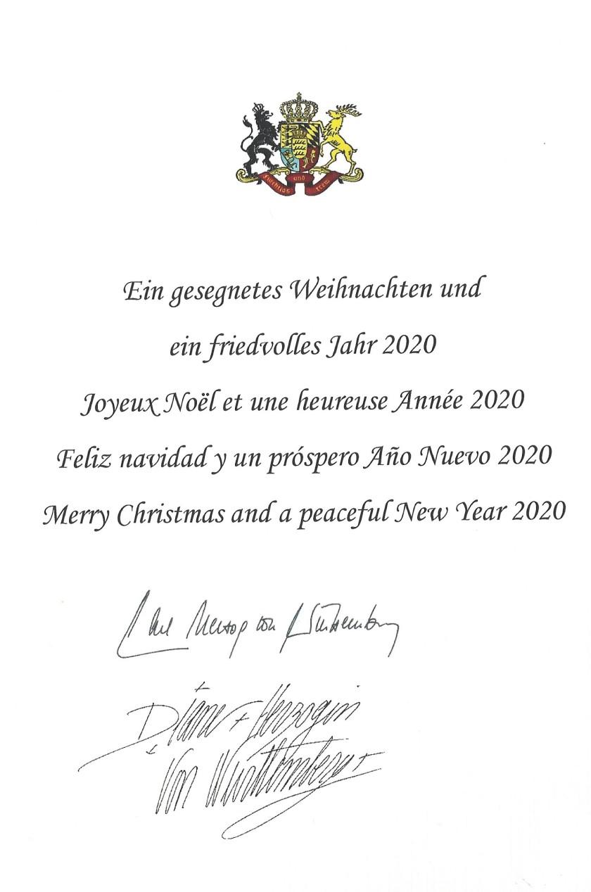 Duke & Duchess Christmas Card Message