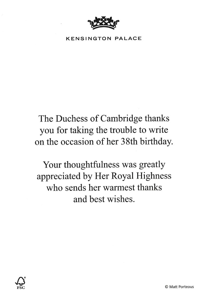 Duchess of Cambridge birthday Message