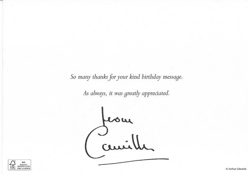 Duchess of Cornwall Birthday Message