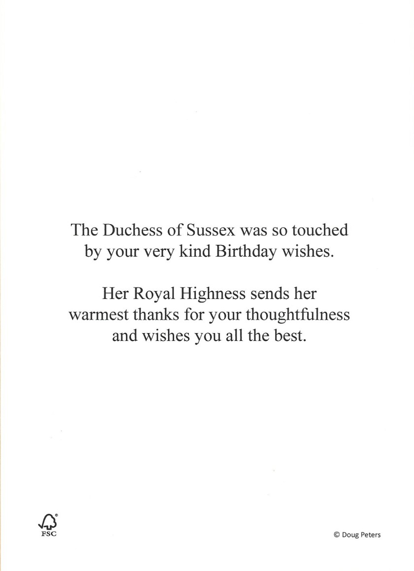Duchess of Sussex Birthday Message