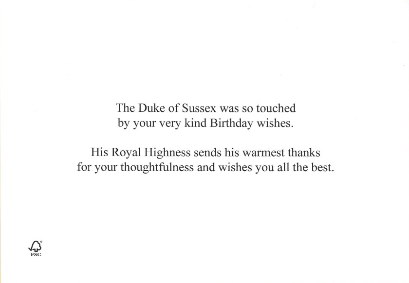 Duke of Sussex Birthday Message