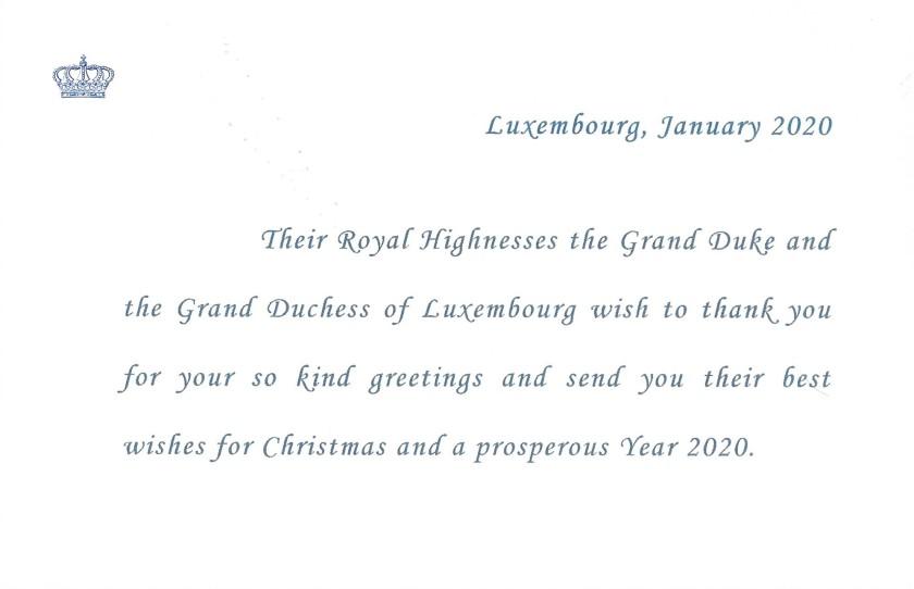 Grand Duke and Grand Duchess of Luxembourg Christmas