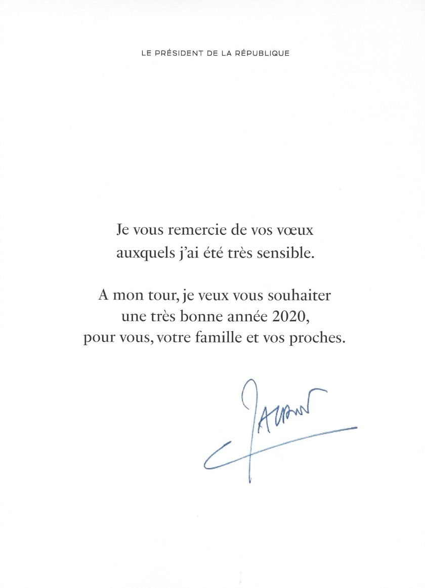 President of France Christmas Card Message