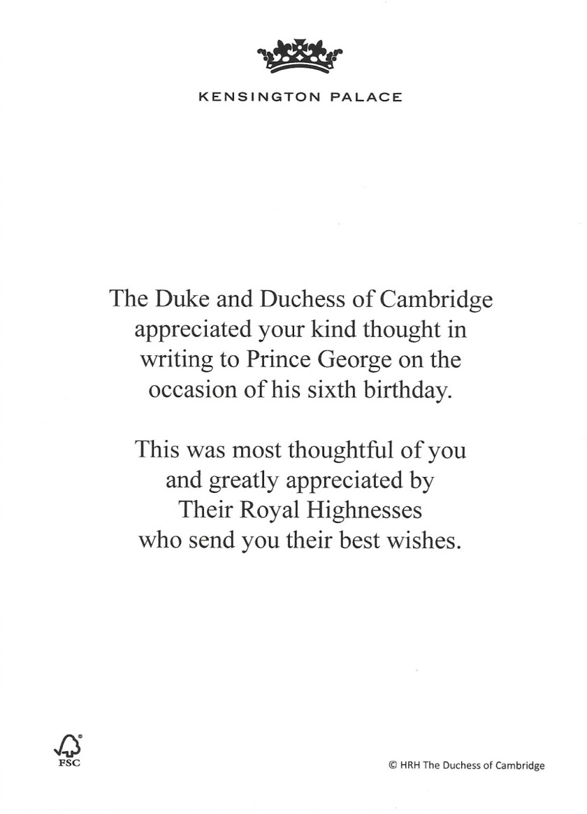 Prince George Birthday Message