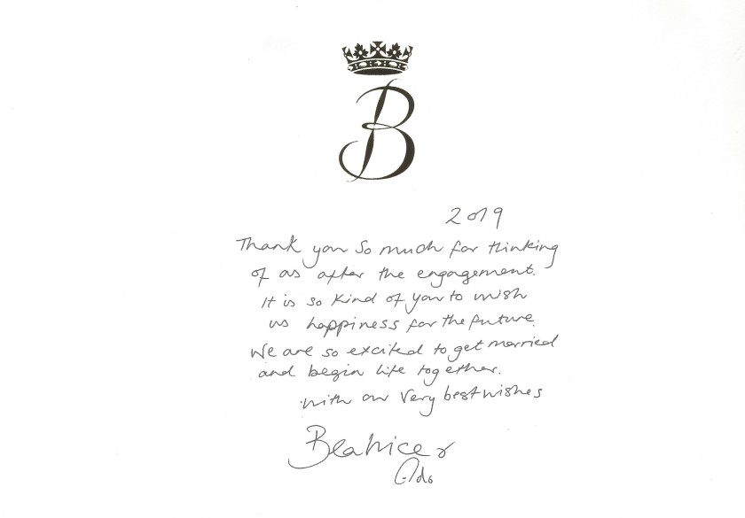 Princess Beatrice Engagement Message