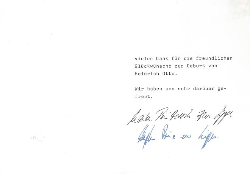 Card birth of Heinrich Otto