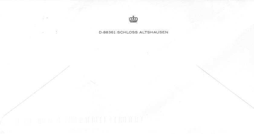 Duchess of Wurttemberg Birthday Envelope Reverse
