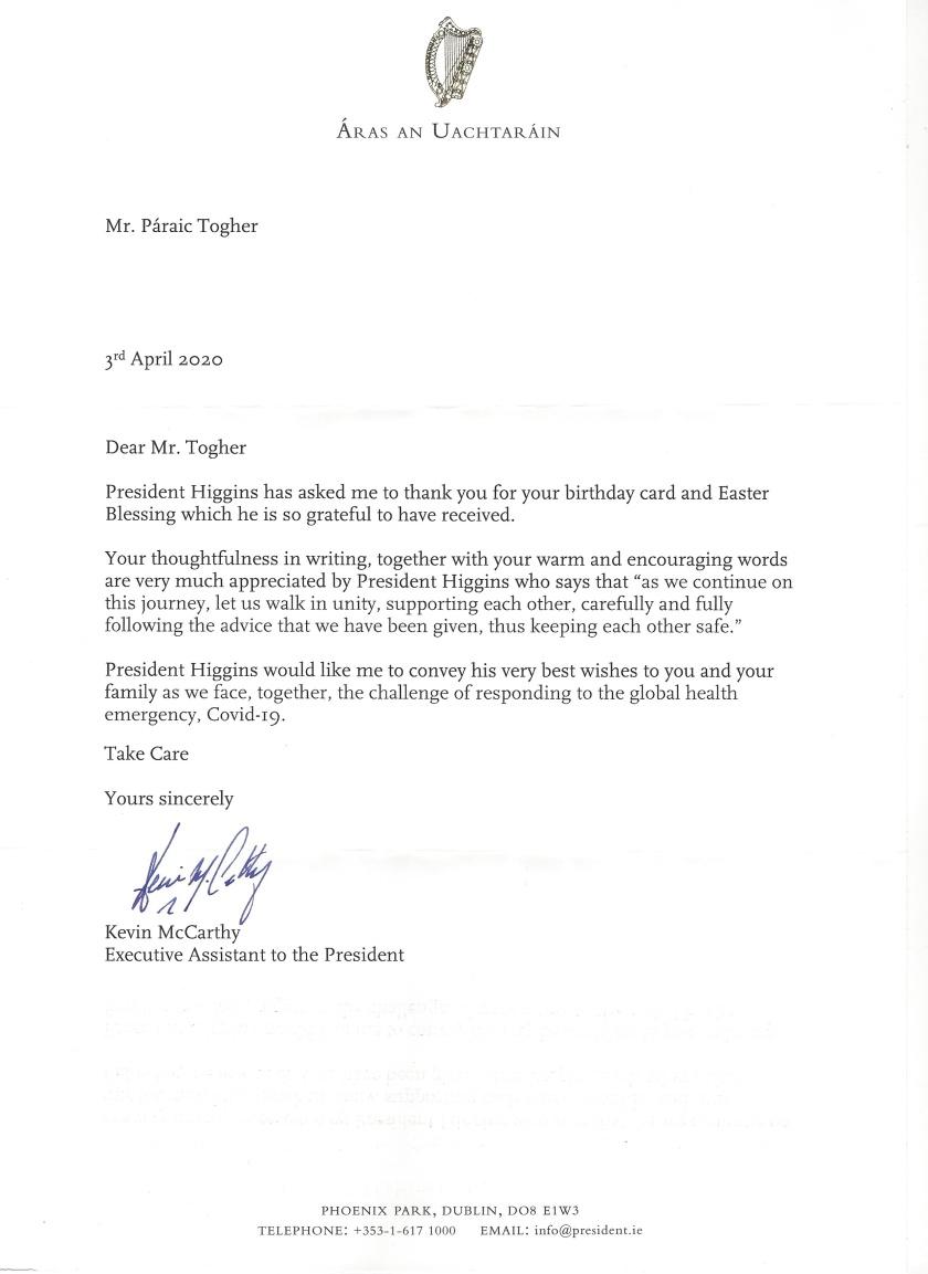 President of Ireland 79th Birthday and Easter Letter.jpeg_LI