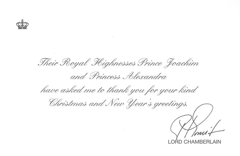 Prince Joachim and Princess Alexandra Christmas