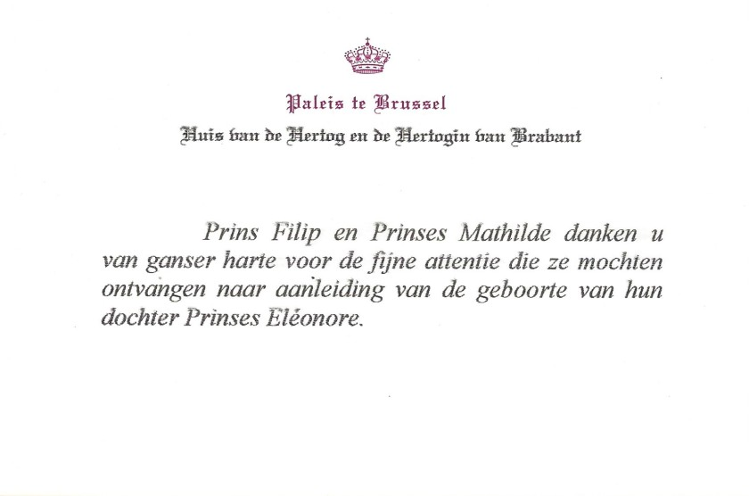Birth of Princess Eléonore of Belgium Card
