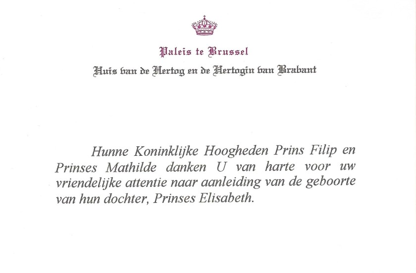 Birth of Princess Elisabeth of Belgium, Duchess of Brabant Card