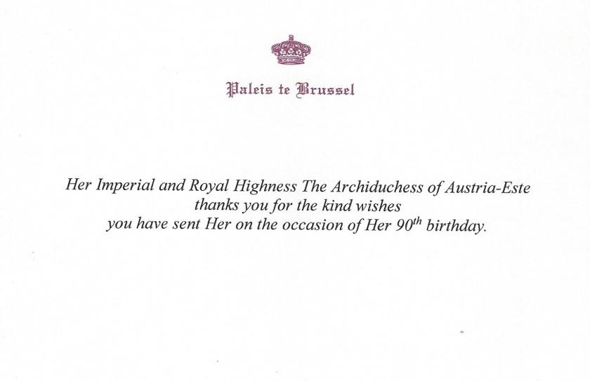 Dowager Archduchess of Austria-Este 90th Birthday