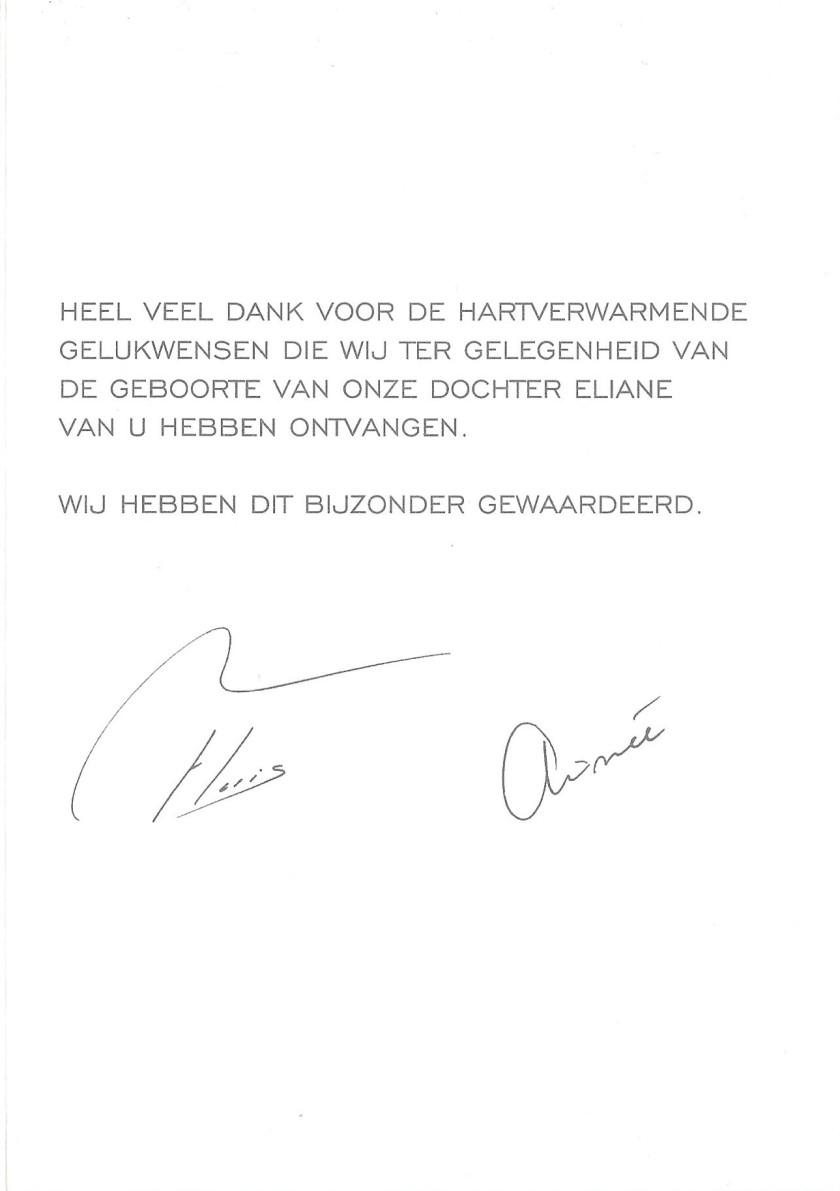 Eliane van Vollenhoven Birth Message
