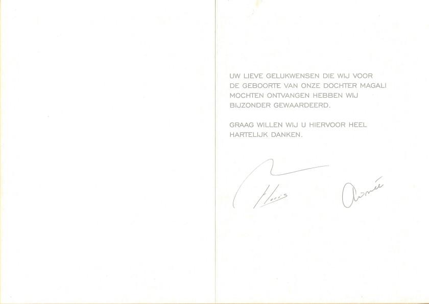 Magali van Vollenhoven Birth Card