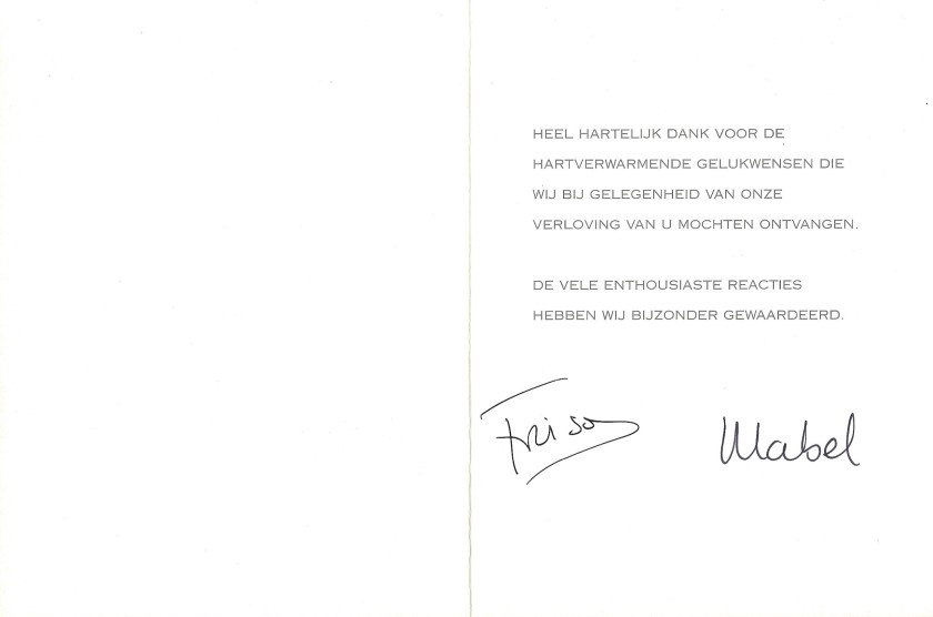 Prince Friso and Princess Mabel Engagement Card