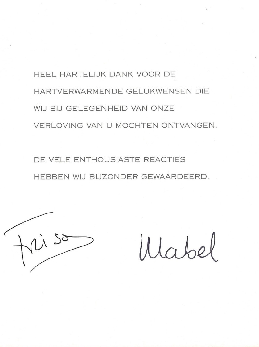 Prince Friso and Princess Mabel Engagement Message