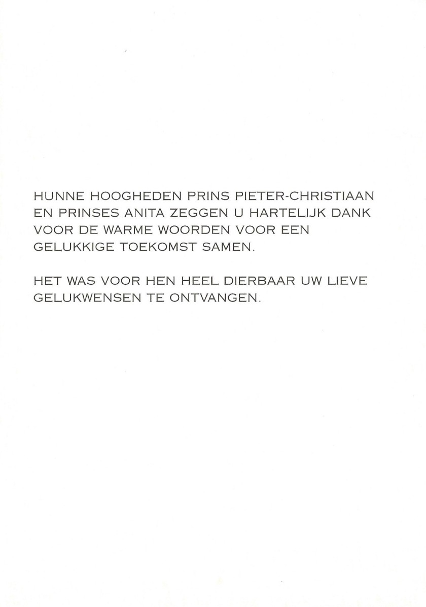 Wedding of Pieter-Christian and Princess Anita Card