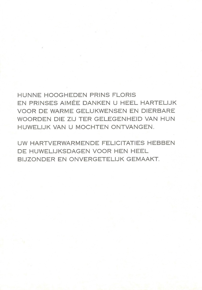 Wedding of Prince Floris and Princess Aimée Message