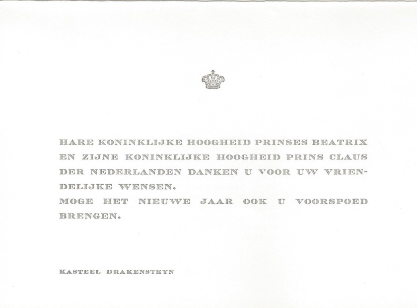 Beatrix and Claus Christmas Card Message
