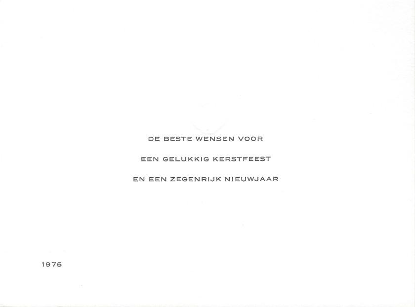 Juliana and Bernhard Christmas Card Message 1975
