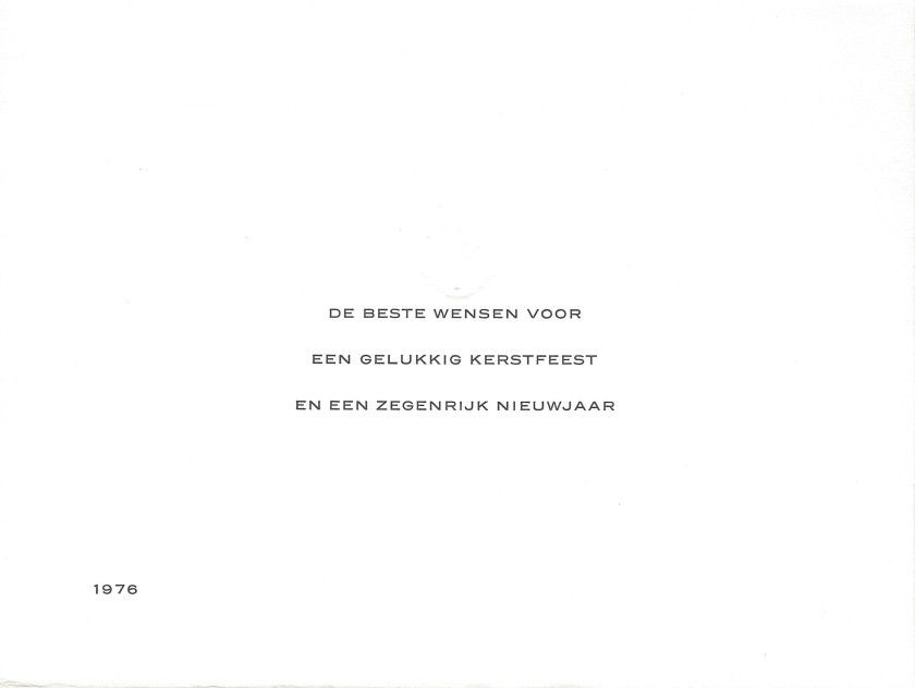 Juliana and Bernhard Christmas Card Message 1976