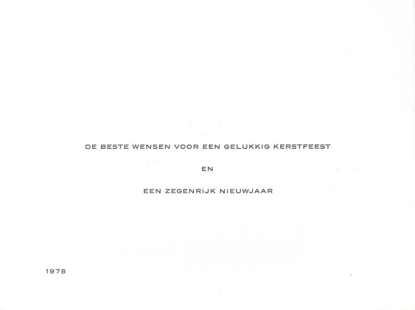 Juliana and Bernhard Christmas Card Message 1978
