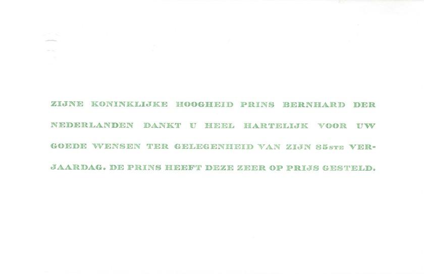 Prince Bernhard of the Netherlands 85th Birthday