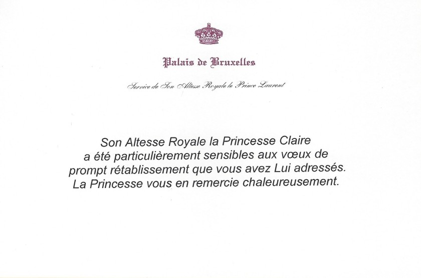 Princess Claire of Belgium Get Well Soon