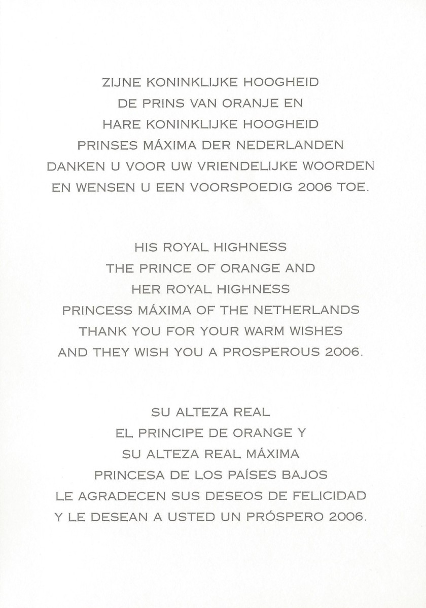 Willem-Alexander and Máxima of the Netherlands Christmas Card Message