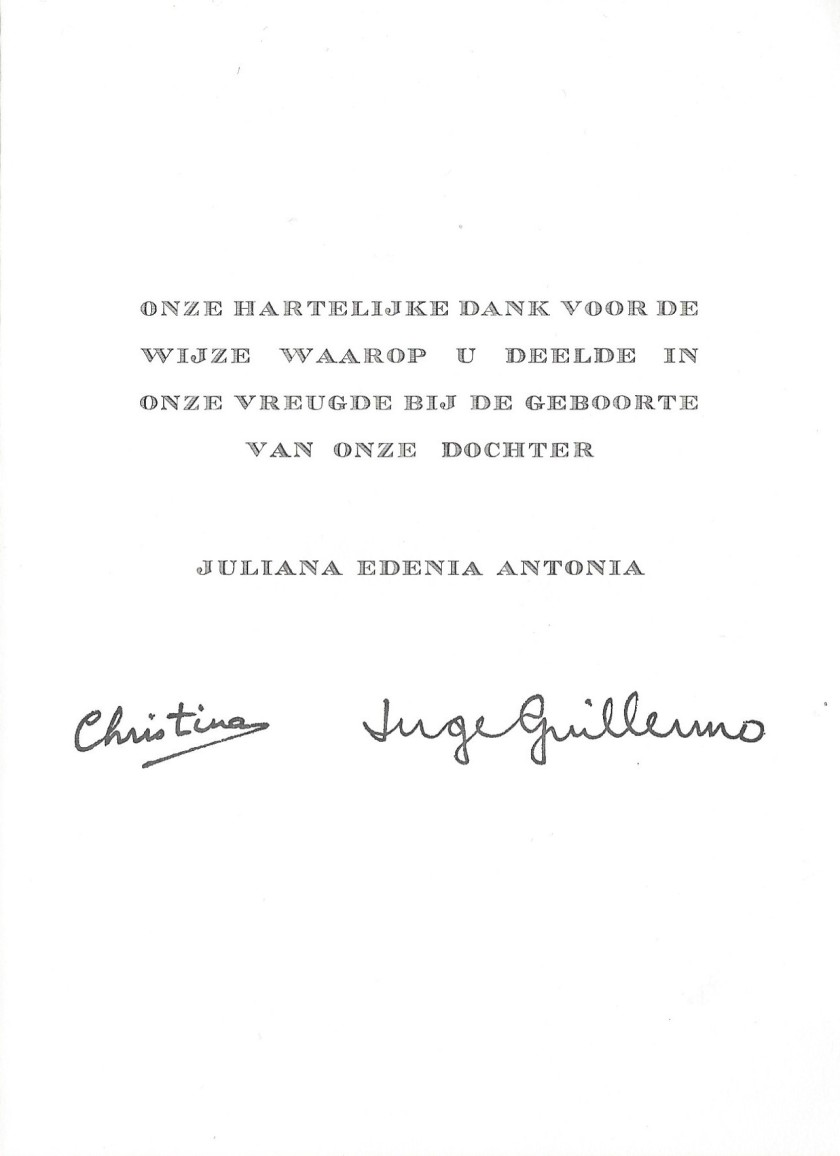 Birth of Juliana Guillermo Message