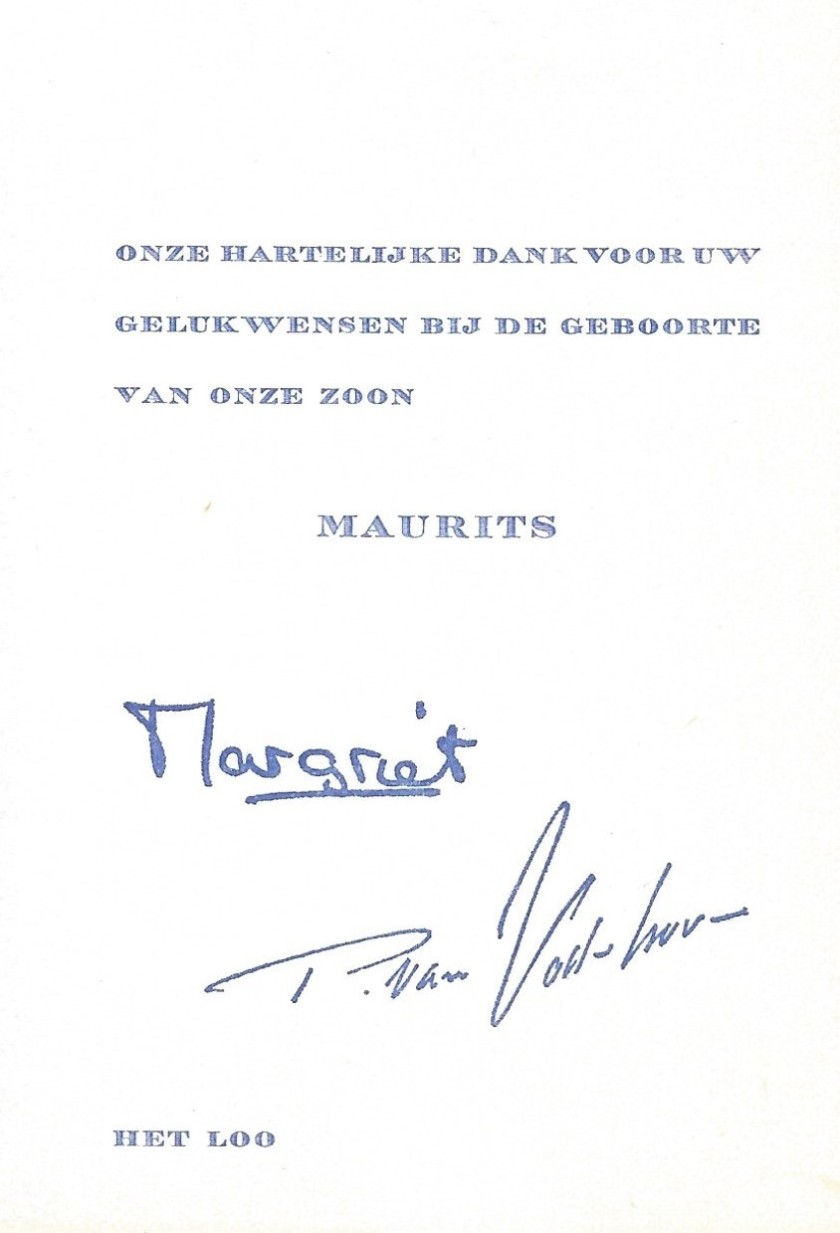 Birth of Prince Maurits Message