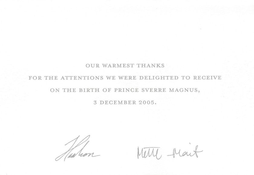 Birth of Prince Sverre Magnus of Norway Message