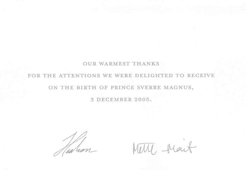Birth of Prince Sverre Magnus of Norway Message
