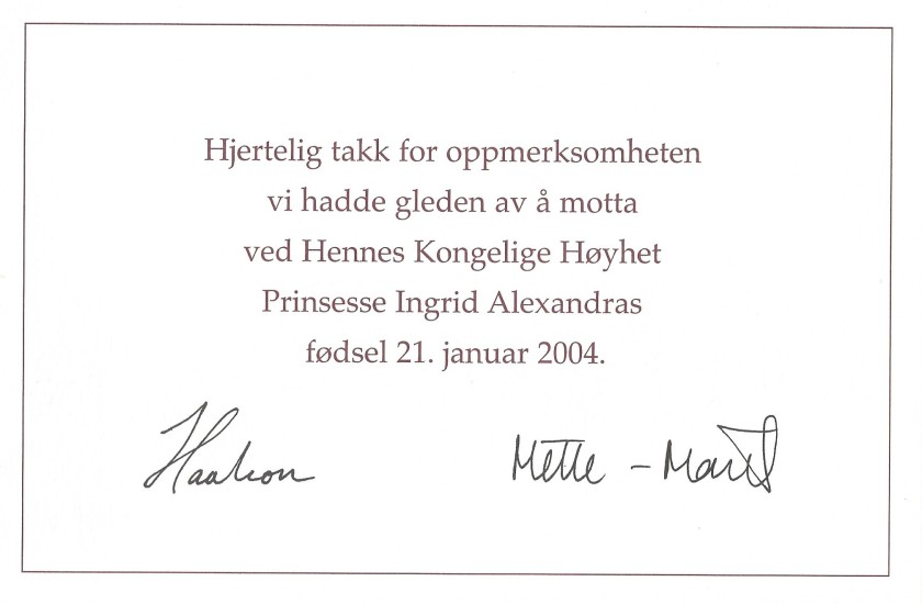 Birth of Princess Ingrid Alexandra of Norway Birth Card Message