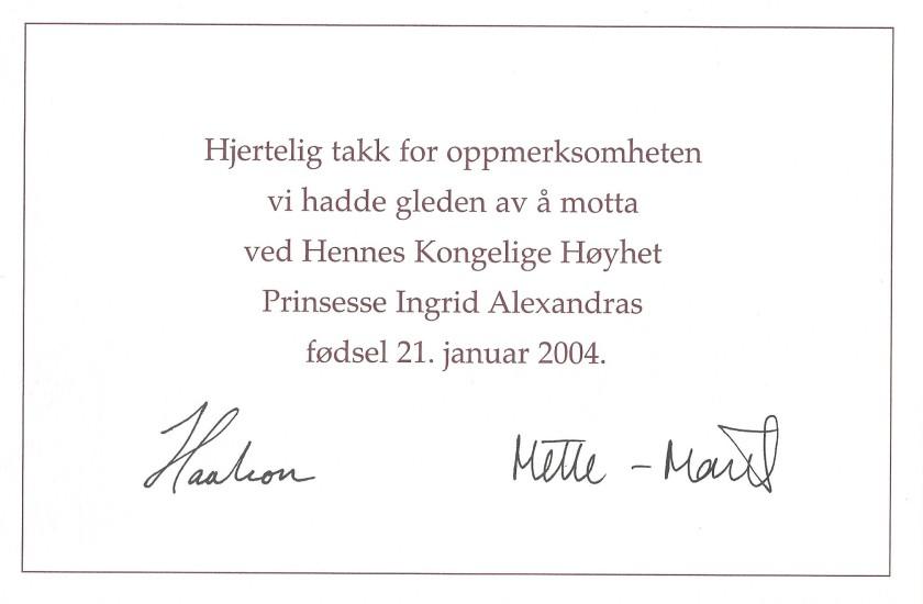 Birth of Princess Ingrid Alexandra of Norway Birth Card Message