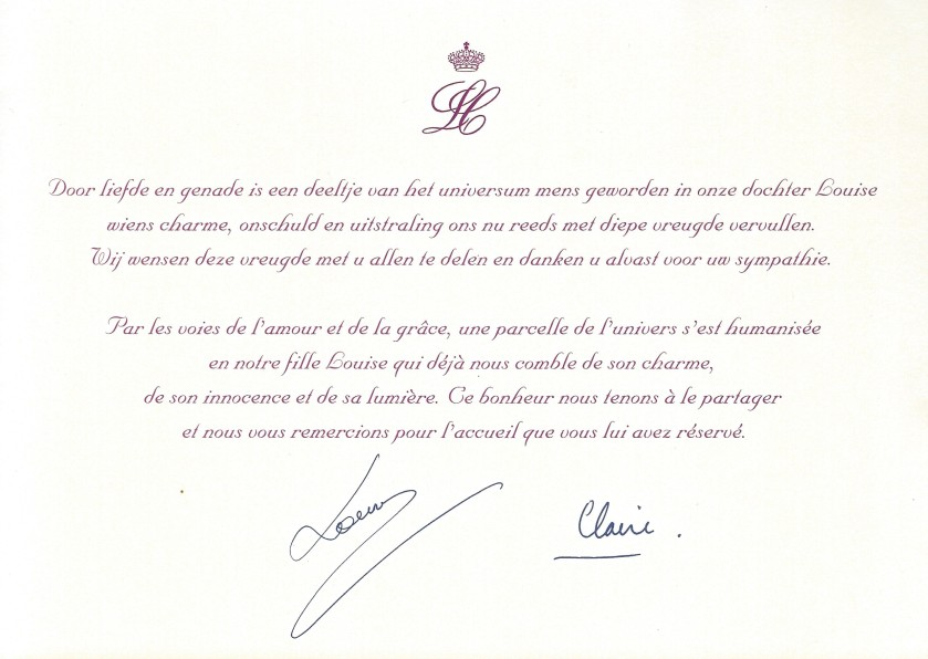 Birth of Princess Louise of Belgium Message