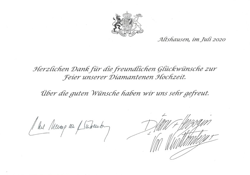 Carl and Diane, The Duke and Duchess of Würrtemberg's Diamond Wedding Anniversary